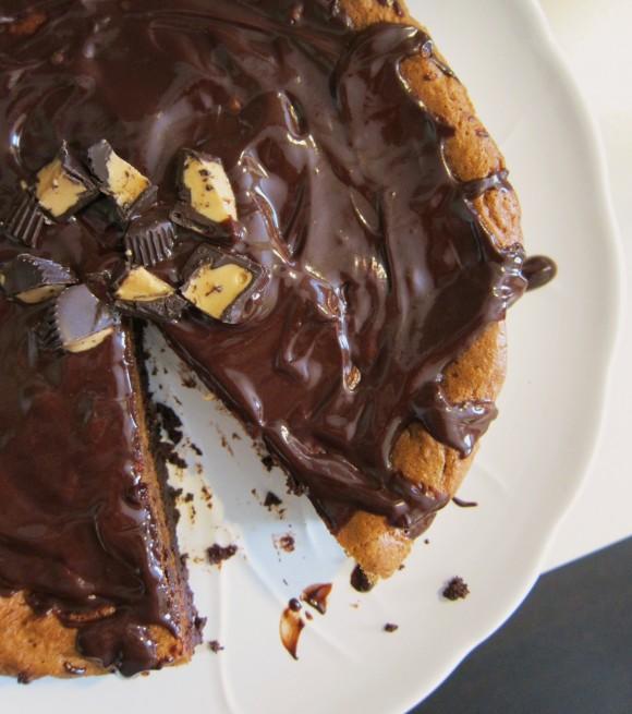 ... Flourless Chocolate & Peanut Butter Cake with Warm Chocolate Glaze