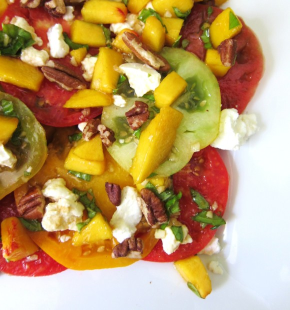 Heirloom Tomatoes with Fresh Peach, Goat Cheese, and Pecans – Eat ...