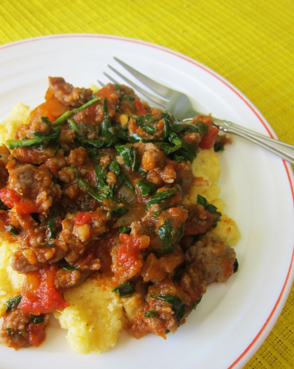 turkey-sausage-and-spinach-ragu-w-parmesan-polenta