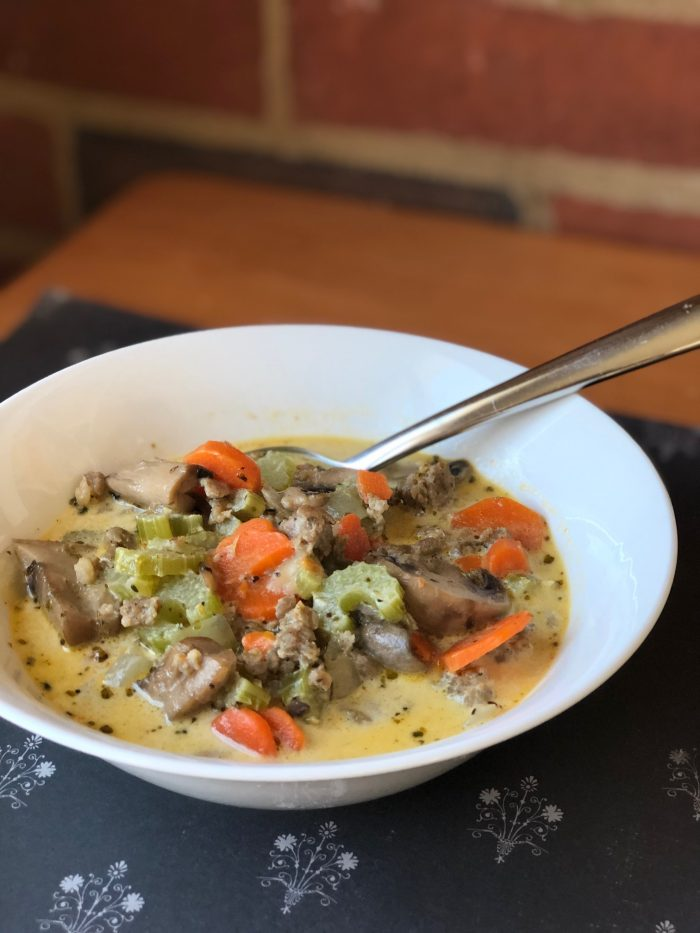 Creamy Sausage Mushroom and Carrot Soup